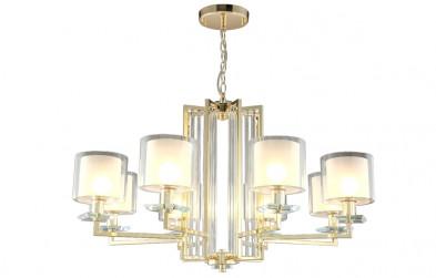 Люстра подвесная Crystal Lux NICOLAS SP-PL8 GOLD/WHITE